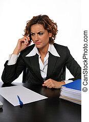電話, 心配した, 女性ビジネス, 話し