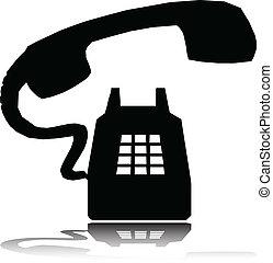 電話, 戒指, 矢量, 黑色半面畫像