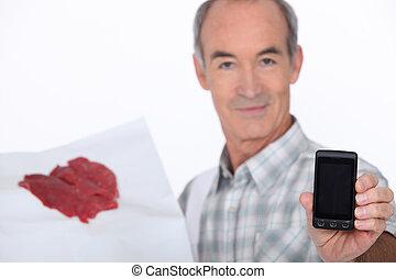 電話, 提示, 肉屋