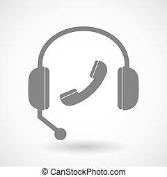 電話, 援助, アイコン, リモート, ヘッドホン