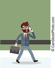 電話, 歩くこと, ビジネス男