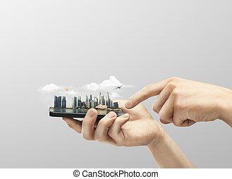 電話, 由于, 模型, 城市