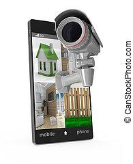 電話, 由于, 照像機, 在懷特上, 背景。, 被隔离, 3d, 圖像