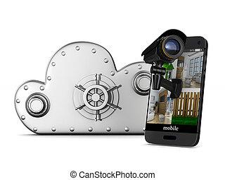 電話, 由于, 照像機, 在懷特上, 背景。, 被隔离, 3d, 插圖