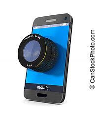 電話, 由于, 透鏡, 在懷特上, 背景。, 被隔离, 3d, 圖像