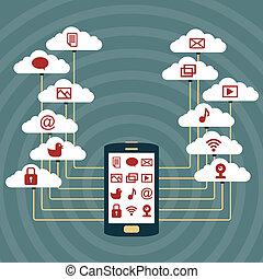 電話, 痛みなさい, 雲, ネットワーク