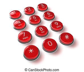 電話, 紅色, 鍵盤