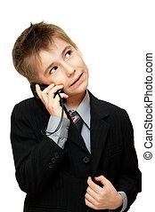 電話, 細胞, 背景, 白, 上に, 男の子, 話し, かわいい, スーツ