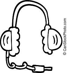 電話, 線, 頭, 漫画, 図画