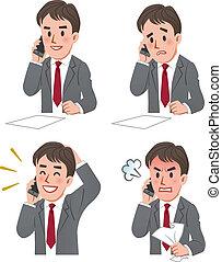 電話, 表現, ビジネスマン