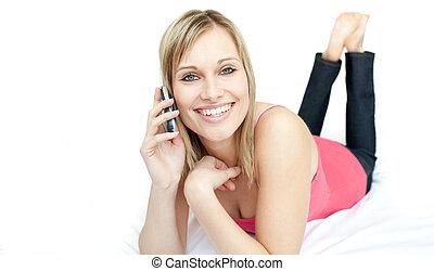 電話, 話し, あること, 朗らかである, ベッド, 女