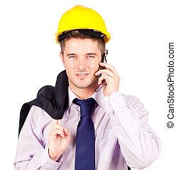 電話, 話し, 建築作業員