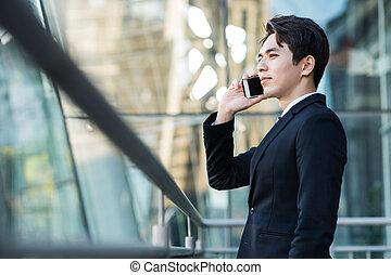 電話, 都市, 建物, 背景, 人, ビジネス, 話し
