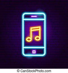 電話, 音楽, ネオン 印