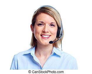 電話, 顧客, 中心, operator.