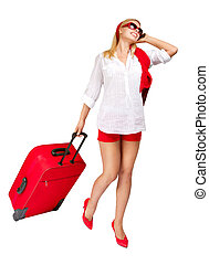 電話, 魅力的, 休暇, スーツケース, 女性の話すこと