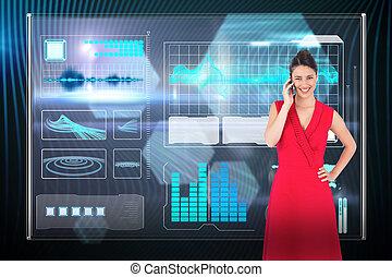 電話, 黒いドレス, 光沢がある, 背景, ポーズを取る, ブルネット, 優雅である, 朗らかである, に対して, 六角形, 赤