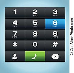 電話, 黒, 数, キーパッド