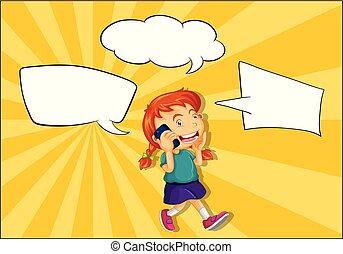 電話, balloon, スピーチ, 女の子, 話し