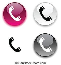 電話, button.