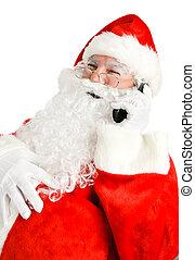 電話, claus, 笑い, santa