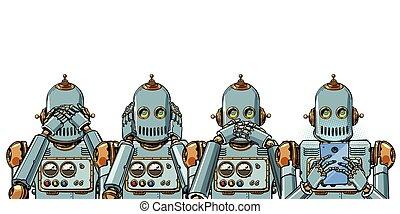 電話, concept., 隔離しなさい, 中毒, ロボット, 白い背景, インターネット