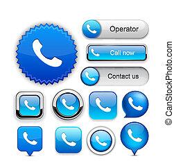 電話, high-detailed, 網, ボタン, collection.