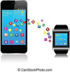電話, smartwatch, 痛みなさい