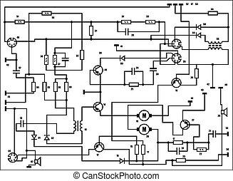 電, 方案, -, 矢量, 背景
