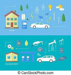 電, 汽車, 以及, 汽油, 汽車