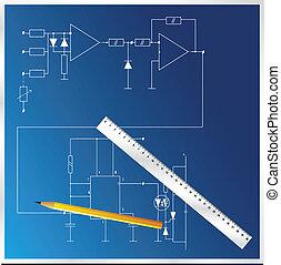 電, 計劃, 矢量, 藍圖