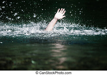 需要, 淹死, 有人, 幫助, 手