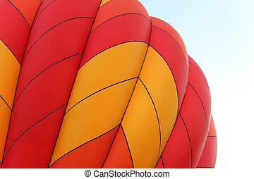 震動, 橙, 以及, 黃色, 熱的空氣汽球
