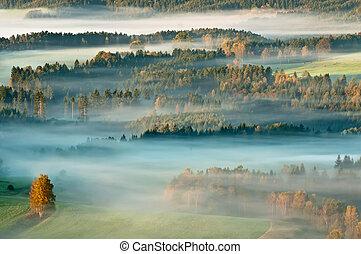 霧が深い, 日の出