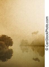 霧が深い, 湖