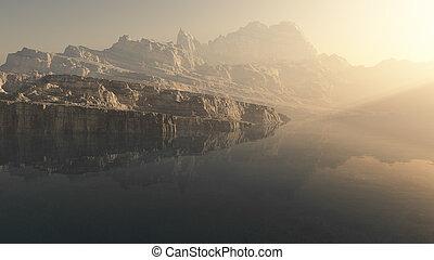 霧が濃い, 湖