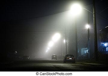 霧が濃い, 通り