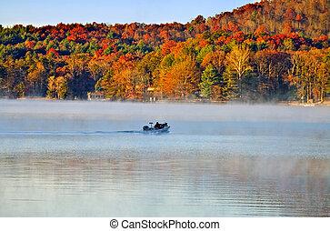 霧, 漁船, 早晨