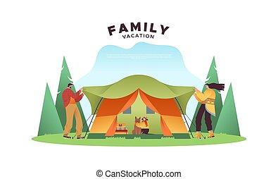露營, 假期, 概念, 家庭, 人們, 帳篷