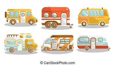 露營, 公共汽車, 或者, 露營車 搬運車, 矢量, 插圖