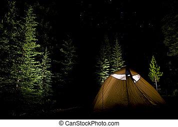 露營, 在, the, 荒野