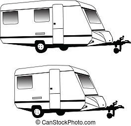 露營, 拖車