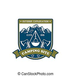 露营, 同时,, 户外的冒险, 徽章, 设计