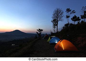 露营, 帐篷, 在, 黄昏, 时间