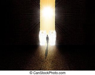 靈魂, 站立, 在, the, 入口, 到, 天堂