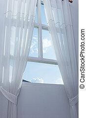 青いびら門, 窓, 空, 白