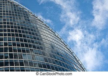 青いガラス, 空, 背景, 現代建物, ビジネス