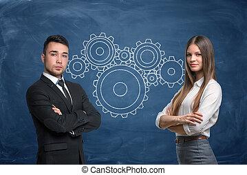 青いギヤ, 女性実業家, 仕事, 背景, チーム, ビジネスマン, 車輪