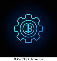 青いギヤ, crypto, bitcoin, 通貨, ベクトル, icon., ラウンド, 最小である