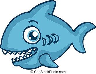 青いサメ, デザイン, 漫画, 幸せ